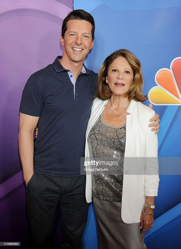 Actors <a gi-track='captionPersonalityLinkClicked' href=/galleries/search?phrase=Sean+Hayes&family=editorial&specificpeople=204240 ng-click='$event.stopPropagation()'>Sean Hayes</a> and <a gi-track='captionPersonalityLinkClicked' href=/galleries/search?phrase=Linda+Lavin&family=editorial&specificpeople=645189 ng-click='$event.stopPropagation()'>Linda Lavin</a> arrive at the 2013 NBC Television Critics Association's Summer Press Tour at The Beverly Hilton Hotel on July 27, 2013 in Beverly Hills, California.