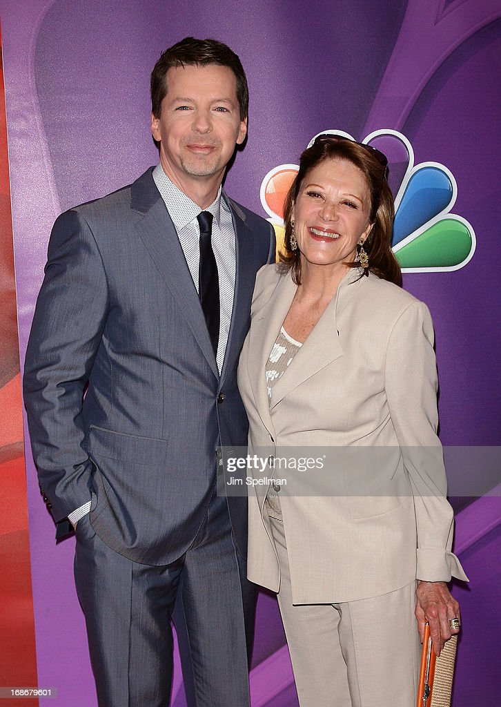 Actors <a gi-track='captionPersonalityLinkClicked' href=/galleries/search?phrase=Sean+Hayes&family=editorial&specificpeople=204240 ng-click='$event.stopPropagation()'>Sean Hayes</a> and <a gi-track='captionPersonalityLinkClicked' href=/galleries/search?phrase=Linda+Lavin&family=editorial&specificpeople=645189 ng-click='$event.stopPropagation()'>Linda Lavin</a> attends 2013 NBC Upfront Presentation Red Carpet Event at Radio City Music Hall on May 13, 2013 in New York City.