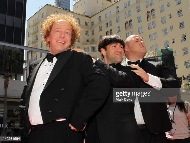 Actors Sean Hayes Chris Diamantopoulos and Will Sasso arrive at 'The Three Stooges' Los Angeles premiere at Grauman's Chinese Theatre on April 7 2012...
