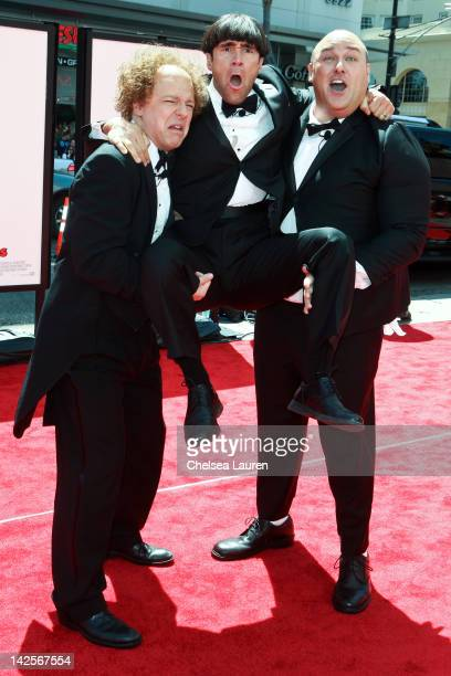Actors Sean Hayes Chris Diamantopoulos and Will Sasso arrive at 'The Three Stooges' premiere at Grauman's Chinese Theatre on April 7 2012 in...