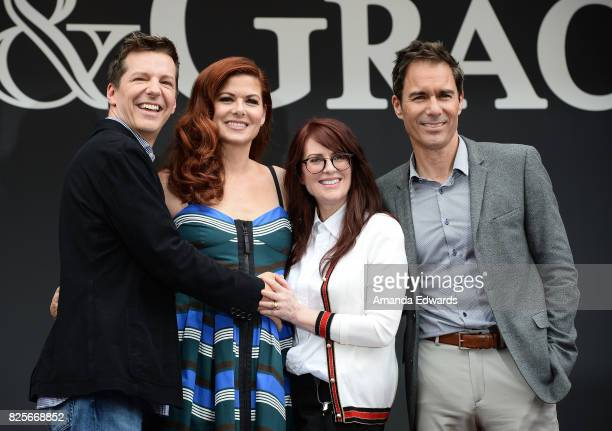 Actors Sean Hayes Debra Messing Megan Mullally and Eric McCormack attend the 'Will Grace' start of production kick off event and ribbon cutting...