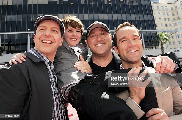 Actors Sean Hayes Max Charles Will Sasso and Chris Diamontopoulos arrive at the premiere of Twentieth Century Fox's 'The Three Stooges' at the...