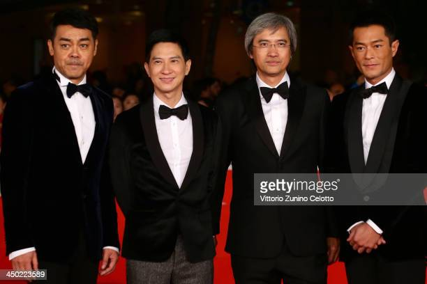 Actors Sean Lau Nick Cheung director Benny Chan and actor Louis Koo attend the 'Sou Duk' Premiere during The 8th Rome Film Festival at Auditorium...