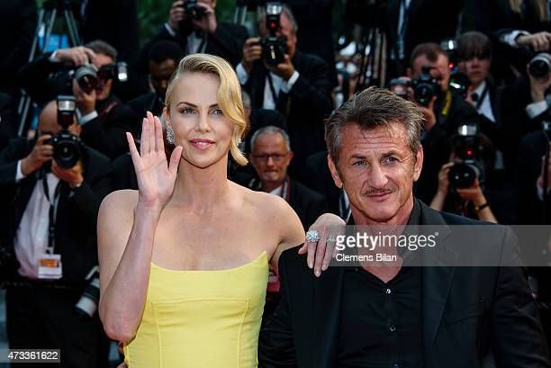 Actors Sean Penn and Charlize Theron attend the premiere of 'Mad Max Fury Road' during the 68th annual Cannes Film Festival on May 14 2015 in Cannes...