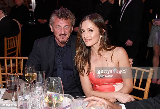 Actors Sean Penn and Minka Kelly attend the launch of the Parker Institute for Cancer Immunotherapy an unprecedented collaboration between the...