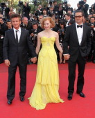 Actors Sean Penn Jessica Chastain and Brad Pitt attend 'The Tree Of Life' Premiere during the 64th Annual Cannes Film Festival at Palais des...