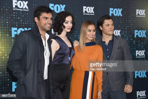Actors Sean Teale Emma Dumont Jamie Chung and Blair Redford of the show 'The Gifted' attend the FOX Upfront on May 15 2017 in New York City
