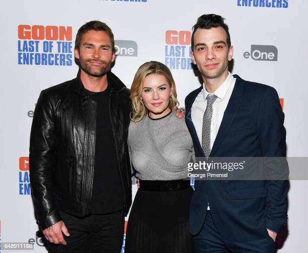 Actors Seann William Scott Elisha Cuthbert and Jay Baruchel attend 'Goon Last Of The Enforcers' Premiere at Scotiabank Theatre on March 6 2017 in...