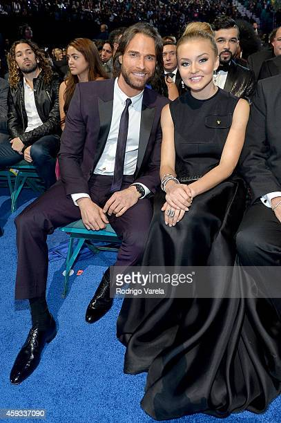 Actors Sebastian Rulli and Angelique Boyer attend the 15th annual Latin GRAMMY Awards at the MGM Grand Garden Arena on November 20 2014 in Las Vegas...