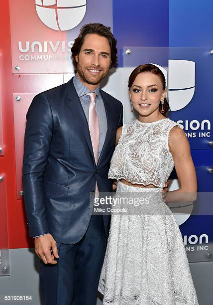 Actors Sebastian Rulli and Angelique Boyer attend Univision's 2016 Upfront Red Carpet at Gotham Hall on May 17 2016 in New York City