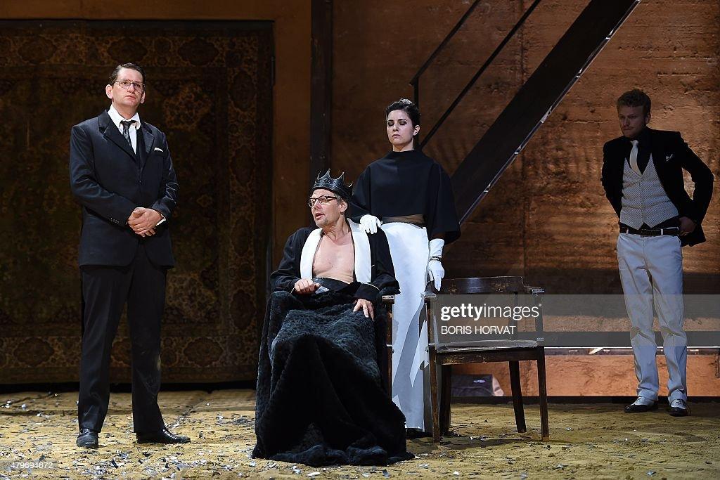 Actors Sebastian Schwarz as Brakenbury Thomas Bading as Lord Maire Eva Meckbach as Elizabeth and Moritz Gottwald as Buckingham perform during a...
