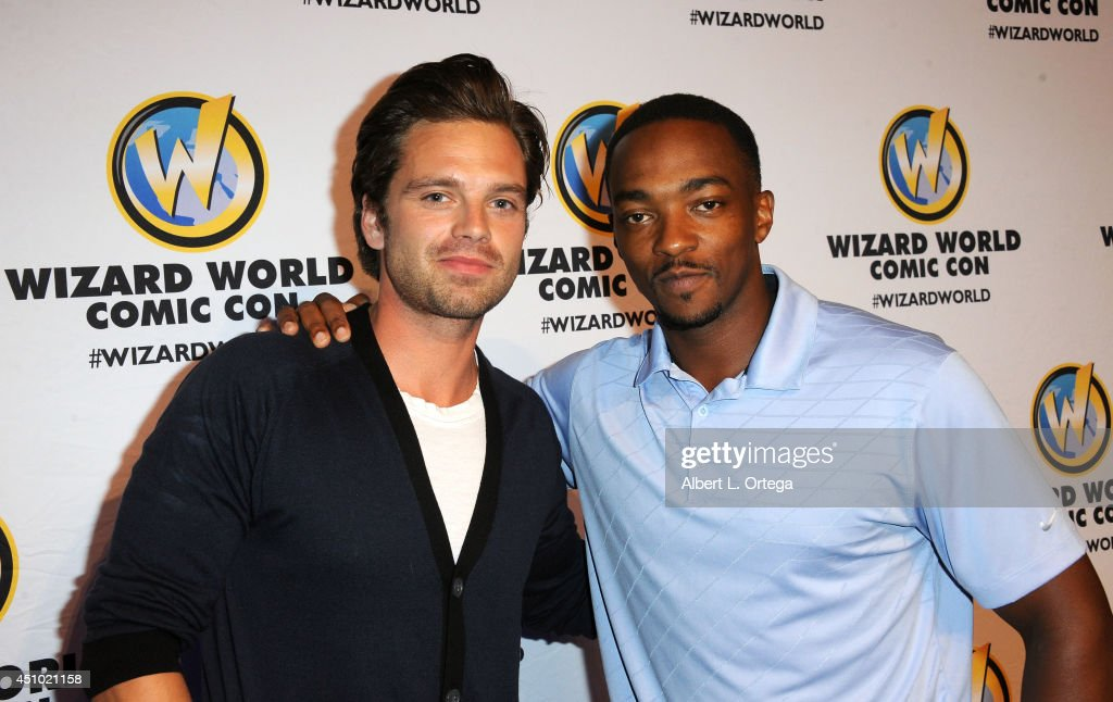 Actors <a gi-track='captionPersonalityLinkClicked' href=/galleries/search?phrase=Sebastian+Stan&family=editorial&specificpeople=656034 ng-click='$event.stopPropagation()'>Sebastian Stan</a> and <a gi-track='captionPersonalityLinkClicked' href=/galleries/search?phrase=Anthony+Mackie&family=editorial&specificpeople=206212 ng-click='$event.stopPropagation()'>Anthony Mackie</a> attend Wizard World Philadelphia Comic Con 2014 Day 3 held at Pennsylvania Convention Center on June 21, 2014 in Philadelphia, Pennsylvania.