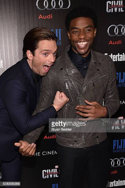Actors Sebastian Stan and Chadwick Boseman attend the Cinema Society with Audi and FIJI Water host a screening of Marvel's 'Captain America Civil...
