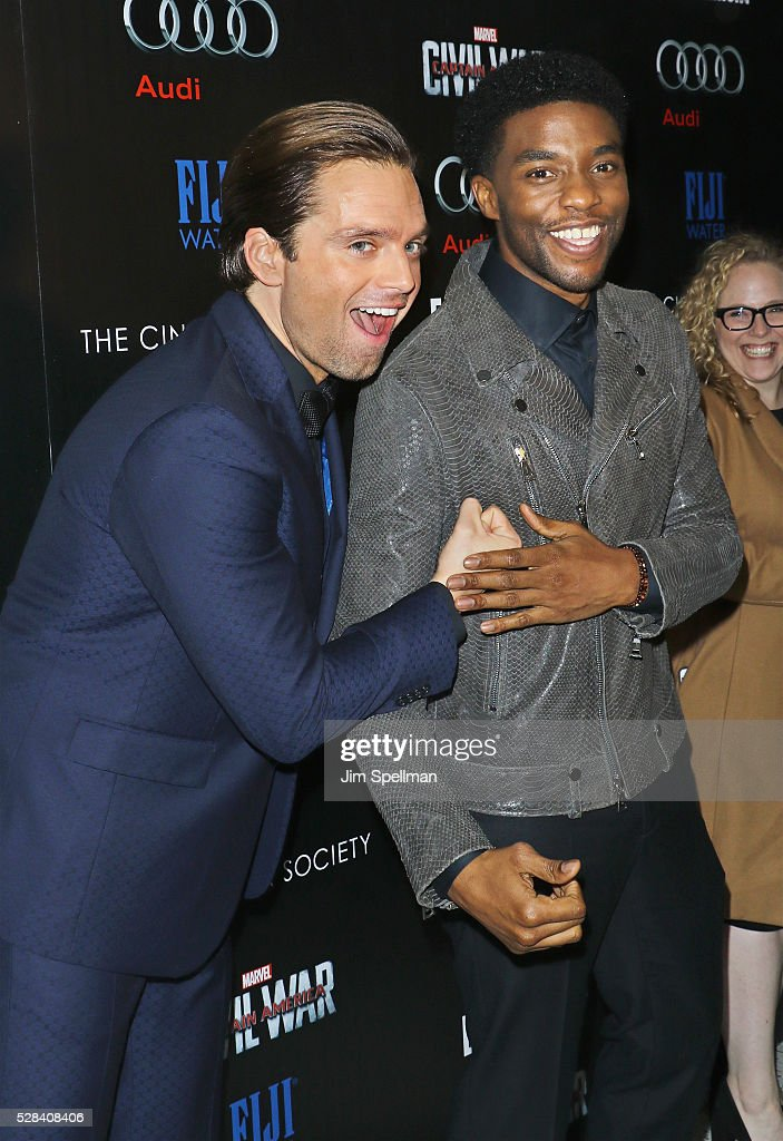Actors Sebastian Stan and Chadwick Boseman attend the screening of Marvel's 'Captain America: Civil War' hosted by The Cinema Society with Audi & FIJI at Brookfield Place on May 4, 2016 in New York City.