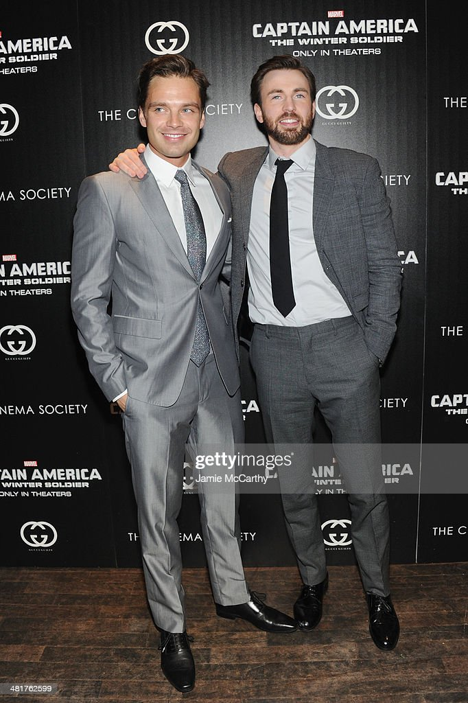 Actors <a gi-track='captionPersonalityLinkClicked' href=/galleries/search?phrase=Sebastian+Stan&family=editorial&specificpeople=656034 ng-click='$event.stopPropagation()'>Sebastian Stan</a> and <a gi-track='captionPersonalityLinkClicked' href=/galleries/search?phrase=Chris+Evans+-+Actor&family=editorial&specificpeople=6873149 ng-click='$event.stopPropagation()'>Chris Evans</a> attend The Cinema Society & Gucci Guilty screening of Marvel's 'Captain America: The Winter Soldier' at Tribeca Grand Hotel on March 31, 2014 in New York City.