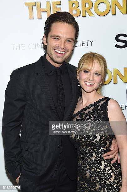 Actors Sebastian Stan and Melissa Rauch attend a screening of Sony Pictures Classics' 'The Bronze' hosted by Cinema Society SELF at Metrograph on...