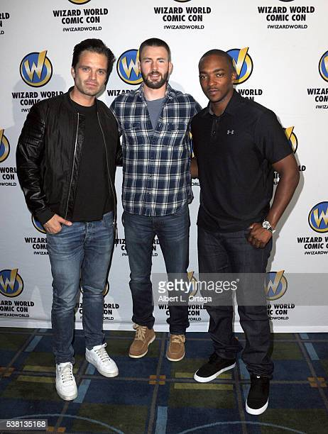 Actors Sebastian Stan Chris Evans and Anthony Mackie of 'Captain America Civil War' on day 3 of Wizard World Comic Con Philadelphia 2016 held at...