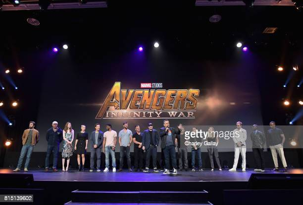 Actors Sebastian Stan Dave Bautista Karen Gillan Pom Klementieff Benedict Cumberbatch Chadwick Boseman Josh Brolin and Chris Hemsworth producer Kevin...