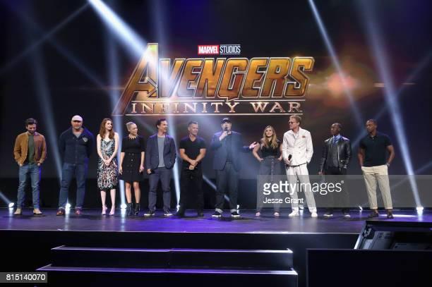 Actors Sebastian Stan Dave Bautista Karen Gillan Pom Klementieff Benedict Cumberbatch and Josh Brolin producer Kevin Feige and actors Elizabeth Olsen...