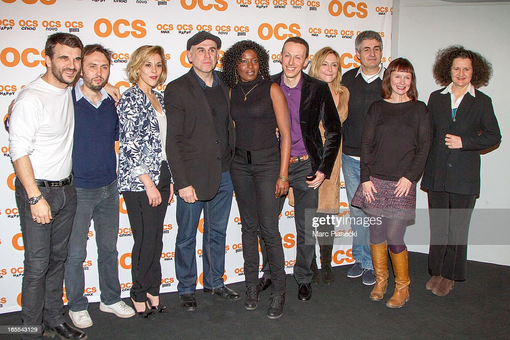 Actors Sebastien Barrio, actress Alysson paradis, Philippe Vieux, Jeanne Savary, Alain Dion and sandrine Le Berre attend the 'QI' Premiere at Forum Des Images on April 4, 2013 in Paris, France.