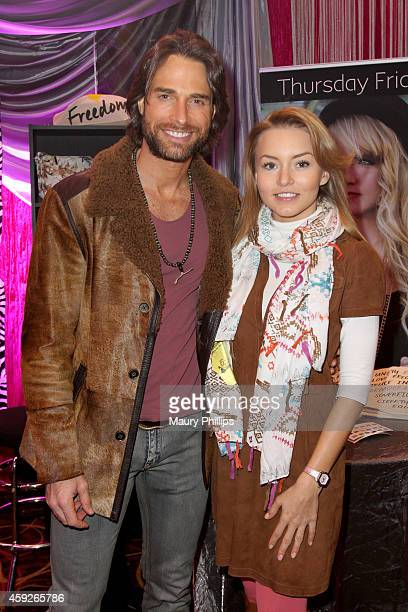 Actors Sebastián Rulli and Angelique Boyer attend the gift lounge during the 15th annual Latin GRAMMY Awards at the MGM Grand Garden Arena on...
