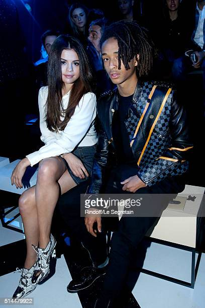 Actors Selena Gomez and Jaden Smith attend the Louis Vuitton show as part of the Paris Fashion Week Womenswear Fall/Winter 2016/2017 Held at Louis...
