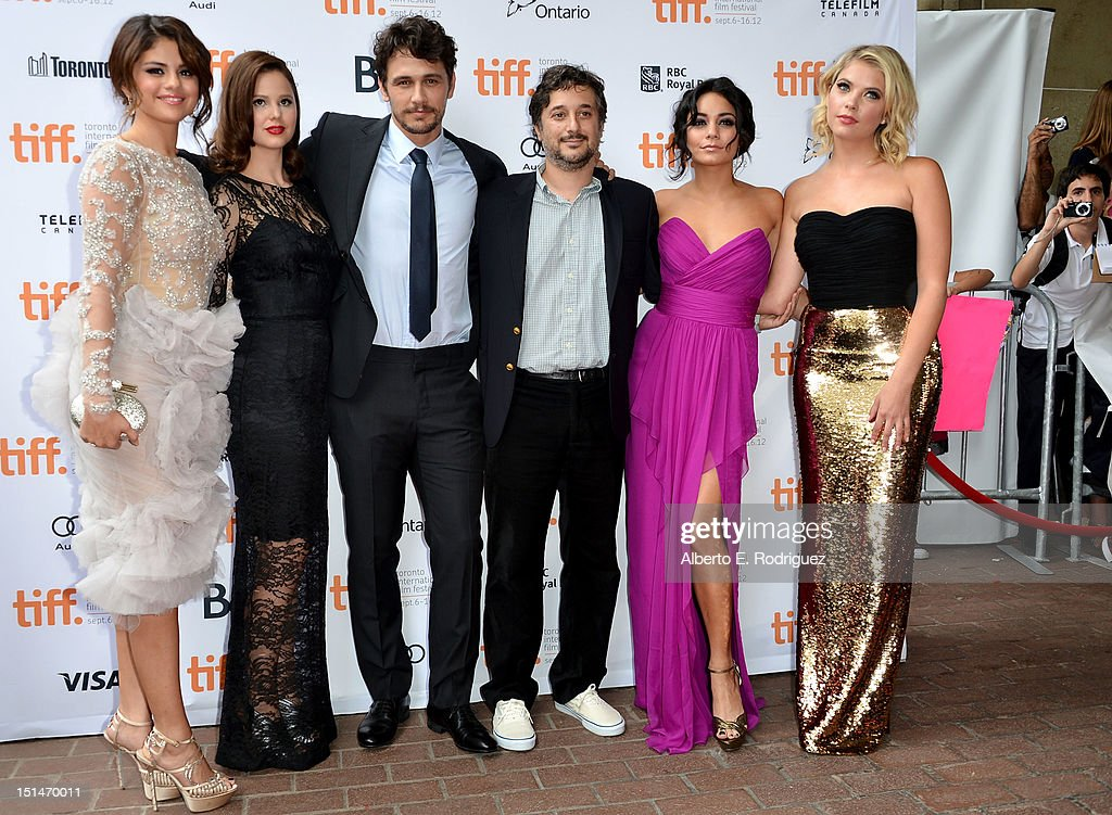 Actors <a gi-track='captionPersonalityLinkClicked' href=/galleries/search?phrase=Selena+Gomez&family=editorial&specificpeople=4295969 ng-click='$event.stopPropagation()'>Selena Gomez</a>, <a gi-track='captionPersonalityLinkClicked' href=/galleries/search?phrase=Rachel+Korine&family=editorial&specificpeople=4495798 ng-click='$event.stopPropagation()'>Rachel Korine</a>, <a gi-track='captionPersonalityLinkClicked' href=/galleries/search?phrase=James+Franco&family=editorial&specificpeople=577480 ng-click='$event.stopPropagation()'>James Franco</a>, writer/director <a gi-track='captionPersonalityLinkClicked' href=/galleries/search?phrase=Harmony+Korine&family=editorial&specificpeople=2613576 ng-click='$event.stopPropagation()'>Harmony Korine</a> and actresses Vanessa Hudgens and <a gi-track='captionPersonalityLinkClicked' href=/galleries/search?phrase=Ashley+Benson&family=editorial&specificpeople=594114 ng-click='$event.stopPropagation()'>Ashley Benson</a> attend the'Spring Breakers' premiere during the 2012 Toronto International Film Festival at Ryerson Theatre on September 7, 2012 in Toronto, Canada.