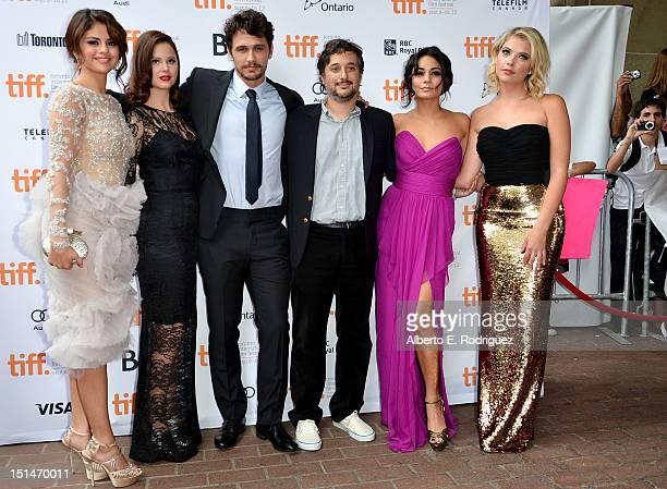 Actors Selena Gomez Rachel Korine James Franco writer/director Harmony Korine and actresses Vanessa Hudgens and Ashley Benson attend the'Spring...