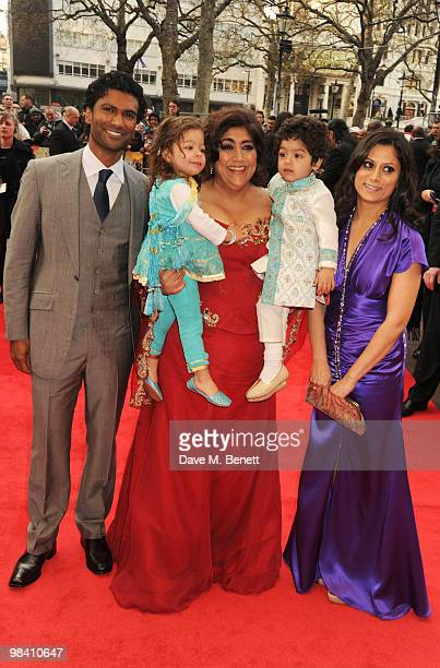 Actors Sendhil Ramamurthy and Goldy Notay with director Gurinder Chadha arrive at the UK film premiere of 'It's A Wonderful Afterlife' at the Odeon...