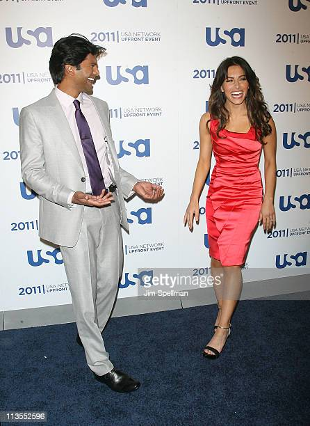 Actors Sendhil Ramamurthy and Sarah Shahi attend the 2011 USA Upfront at The Tent at Lincoln Center on May 2 2011 in New York City