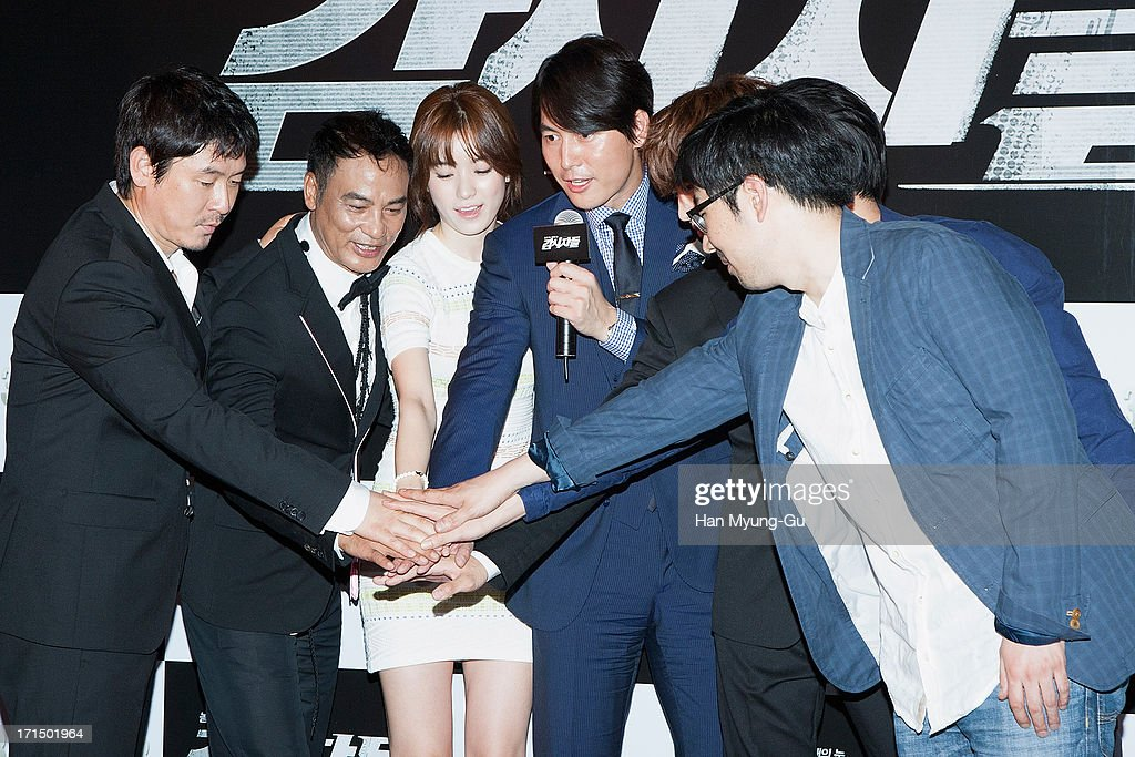 Actors Seol Kyung-Gu, Simon Yam from China, Han Hyo-Joo, Jung Woo-Sung and Junho of South Korean boy band 2PM attend during the 'Cold Eyes' VIP screening at Coex Mega Box on June 25, 2013 in Seoul, South Korea. The film will open on July 03 in South Korea.