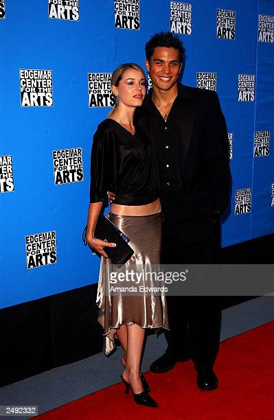 Actors Serah D'Laine and Michael Copon arrive at the fundraising reception and ceremonial ribbon cutting at the new Edgemar Center for the Arts on...