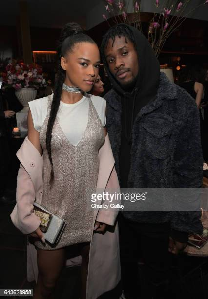 Actors Serayah and Shameik Moore attend Vanity Fair and L'Oreal Paris Toast to Young Hollywood hosted by Dakota Johnson and Krista Smith at Delilah...