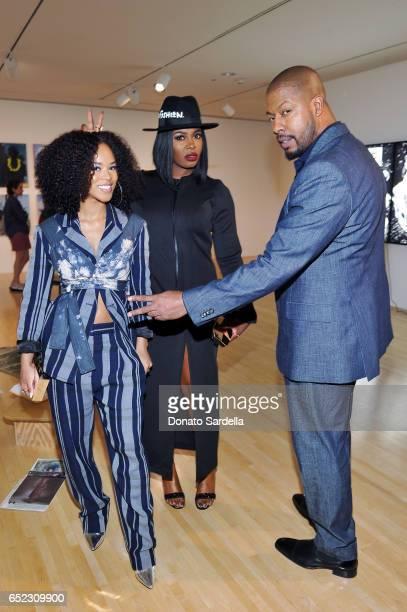 Actors Serayah McNeill Ta'Rhonda Jones and Morocco Omari attend MOCA's Leadership Circle and Members' Opening of Kerry aJames Marshall Mastry at MOCA...