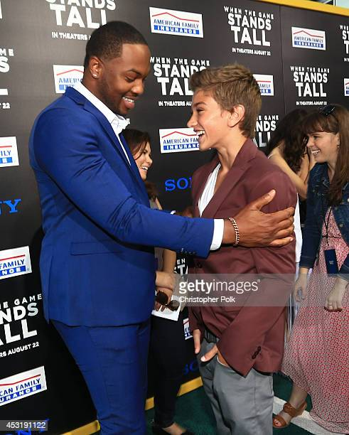 Actors Ser'Darius Blain and Gavin Casalegno attend the premiere of Tri Star Pictures' 'When The Game Stands Tall' at ArcLight Cinemas on August 4...