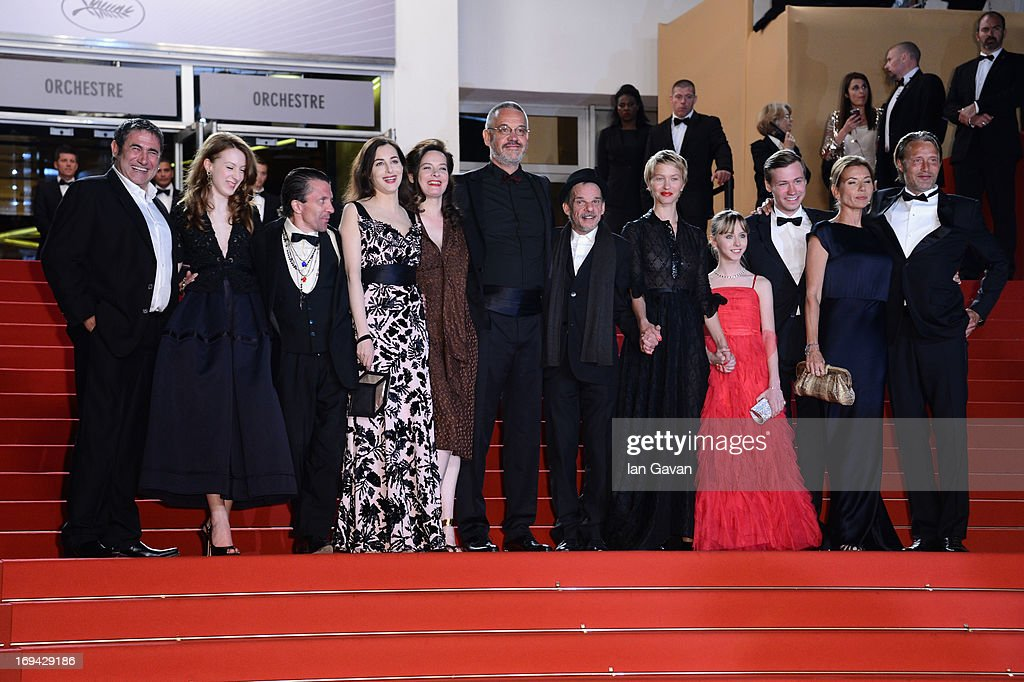Actors Sergi Lopez, Roxane Duran, guest, <a gi-track='captionPersonalityLinkClicked' href=/galleries/search?phrase=Amira+Casar&family=editorial&specificpeople=239076 ng-click='$event.stopPropagation()'>Amira Casar</a>, guest, director Arnaud des Pallieres, actors <a gi-track='captionPersonalityLinkClicked' href=/galleries/search?phrase=Denis+Lavant&family=editorial&specificpeople=2992486 ng-click='$event.stopPropagation()'>Denis Lavant</a>, Delphine Chuillot, Melusine Mayance, <a gi-track='captionPersonalityLinkClicked' href=/galleries/search?phrase=David+Kross+-+Actor+alem%C3%A1n&family=editorial&specificpeople=10219873 ng-click='$event.stopPropagation()'>David Kross</a>, Hanne Jacobsen and <a gi-track='captionPersonalityLinkClicked' href=/galleries/search?phrase=Mads+Mikkelsen&family=editorial&specificpeople=3003791 ng-click='$event.stopPropagation()'>Mads Mikkelsen</a> attend the 'Michael Kohlhaas' premiere during The 66th Annual Cannes Film Festival at the Palais des Festival on May 24, 2013 in Cannes, France.