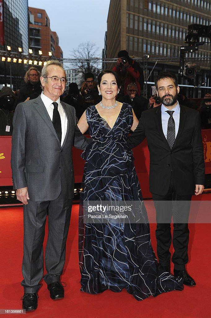 Actors Sergio Hendandez Paulina Garcia and director Sebastian Lelio attend the 'Gloria' Premiere during the 63rd Berlinale International Film...