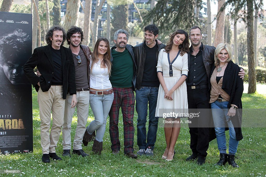 actors Sergio Meogrossi, Giovanni Anzaldo, Carolina Fachinetti, Manrico Gammarota, director <a gi-track='captionPersonalityLinkClicked' href=/galleries/search?phrase=Alessandro+Gassman&family=editorial&specificpeople=2855774 ng-click='$event.stopPropagation()'>Alessandro Gassman</a>, actors Madalina Ghenea, Matteo Taranto and Nadia Rinaldi attend 'Razza Bastarda' photocall at Villa Borghese on April 15, 2013 in Rome, Italy.