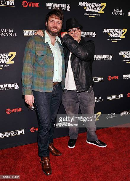Actors Seth Gabel and Josh Gad arrive at Showtime's VIP prefight party for 'Mayhem Mayweather vs Maidana 2' at the MGM Grand Garden Arena on...