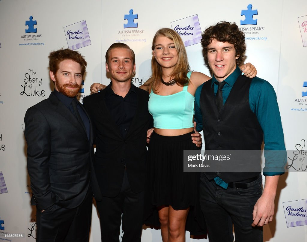 Actors Seth Green Lou Taylor Pucci Mackenzie Munro and Tyler Stentiford attend 'The Story of Luke' Los Angeles premiere held at the Laemmle Music...
