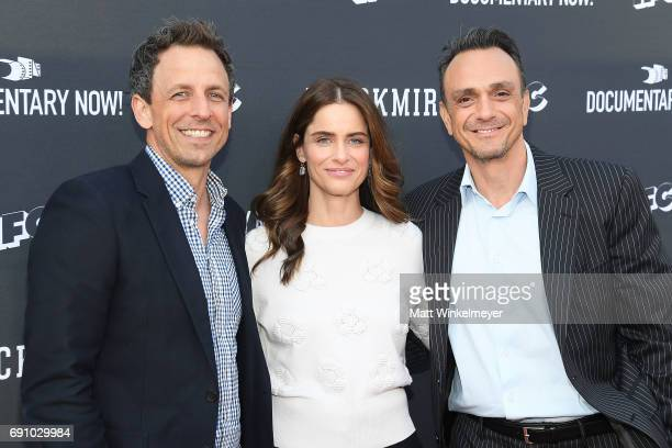 Actors Seth Meyers Amanda Peet and Hank Azaria arrive at the FYC event for IFC's 'Brockmire' and Documentary Now' at Saban Media Center on May 31...