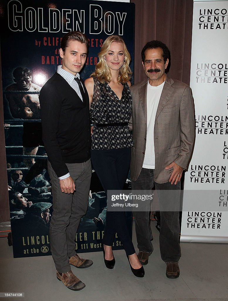 Actors Seth Numrich, <a gi-track='captionPersonalityLinkClicked' href=/galleries/search?phrase=Yvonne+Strahovski&family=editorial&specificpeople=4387578 ng-click='$event.stopPropagation()'>Yvonne Strahovski</a> and <a gi-track='captionPersonalityLinkClicked' href=/galleries/search?phrase=Tony+Shalhoub&family=editorial&specificpeople=203214 ng-click='$event.stopPropagation()'>Tony Shalhoub</a> attend the 'Golden Boy' Cast Meet & Greet at the Lincoln Center Theater on October 25, 2012 in New York City.