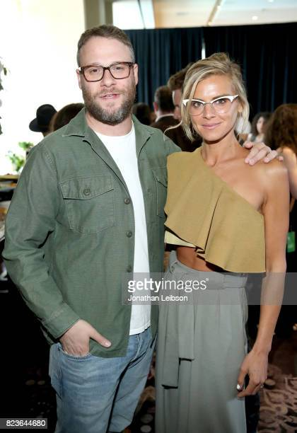 Actors Seth Rogen and Eliza Coupe at Hulu Summer TCA at The Beverly Hilton Hotel on July 27 2017 in Beverly Hills California