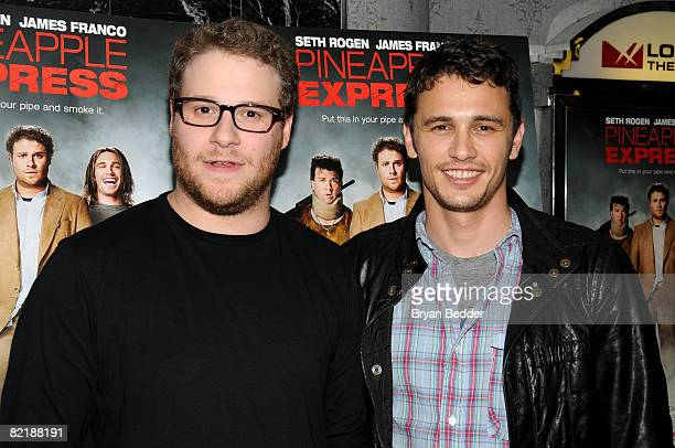 Actors Seth Rogen and James Franco arrive at the Columbia Pictures screening of 'Pineapple Express' presented by Three Olives at the AMC Loews 19th...