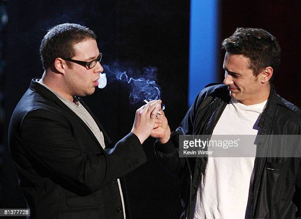 Actors Seth Rogen and James Franco present the award for Best Movie So Far for 'Iron Man' during the 17th Annual MTV Movie Awards held at the Gibson...