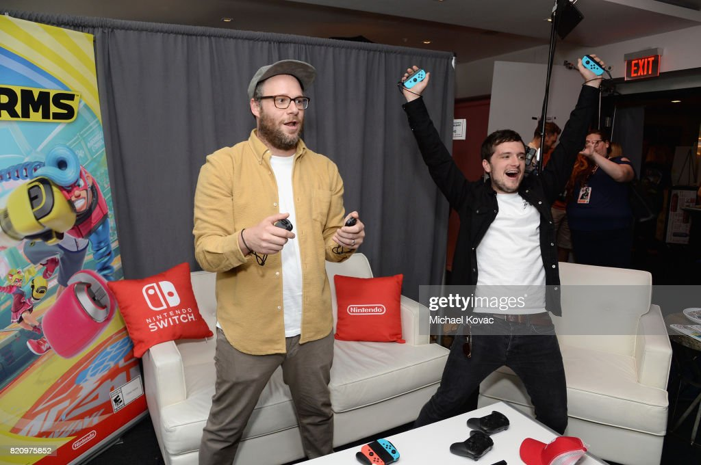 Actors Seth Rogen and Josh Hutcherson from the Hulu series 'Future Man' stopped by Nintendo at the TV Insider Lounge to check out Nintendo Switch during Comic-Con International at Hard Rock Hotel San Diego on July 22, 2017 in San Diego, California.