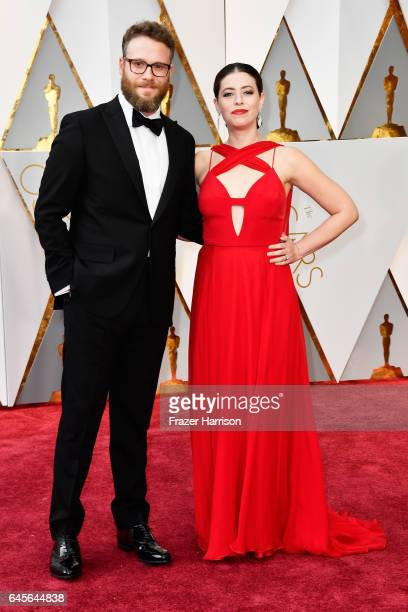 Actors Seth Rogen and Lauren Miller attend the 89th Annual Academy Awards at Hollywood Highland Center on February 26 2017 in Hollywood California