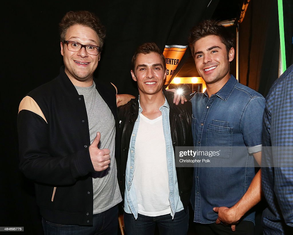Actors <a gi-track='captionPersonalityLinkClicked' href=/galleries/search?phrase=Seth+Rogen&family=editorial&specificpeople=3733304 ng-click='$event.stopPropagation()'>Seth Rogen</a>, <a gi-track='captionPersonalityLinkClicked' href=/galleries/search?phrase=Dave+Franco&family=editorial&specificpeople=5512906 ng-click='$event.stopPropagation()'>Dave Franco</a> and <a gi-track='captionPersonalityLinkClicked' href=/galleries/search?phrase=Zac+Efron&family=editorial&specificpeople=533070 ng-click='$event.stopPropagation()'>Zac Efron</a> attend the 2014 MTV Movie Awards at Nokia Theatre L.A. Live on April 13, 2014 in Los Angeles, California.