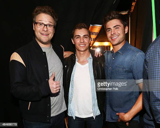 Actors Seth Rogen Dave Franco and Zac Efron attend the 2014 MTV Movie Awards at Nokia Theatre LA Live on April 13 2014 in Los Angeles California