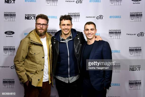 Actors Seth Rogen James Franco and Dave Franco attend Fast Company's prereception for a screening of 'The Disaster Artist' at the FC Grill on March...